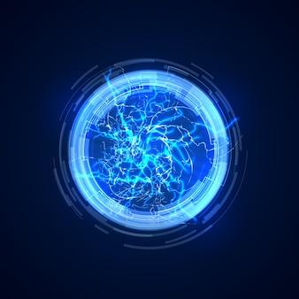 Portal abstracto con rayos eléctricos. ilustración de vector de comunicación futura