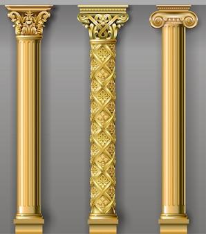 Portal de arco clásico de lujo dorado con columnas