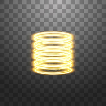 Portal de fantasía mágica. teletransporte futurista. efecto de luz. rayos de velas doradas de una escena nocturna con chispas en un transparente. efecto de luz vacío del podio.