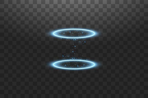 Portal de fantasía mágica. teletransporte futurista. efecto de luz.