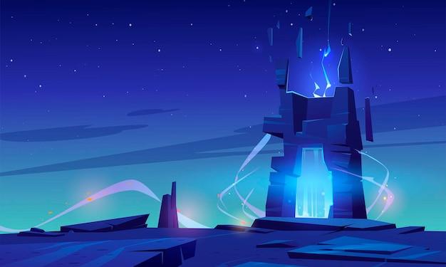 Portal mágico en la cima de la montaña o la superficie del planeta alienígena, fondo de paisaje futurista con entrada brillante en roca bajo el cielo estrellado. escena de libro o juego de computadora de fantasía, ilustración vectorial de dibujos animados
