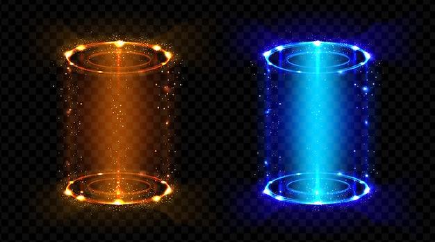 Portal mágico fantasía teletransportes holograma futurista