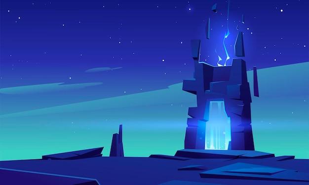 Portal mágico en marco de piedra en el paisaje desértico por la noche