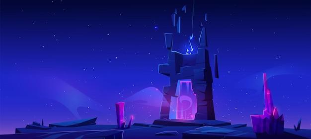 Portal mágico en la montaña por la noche.
