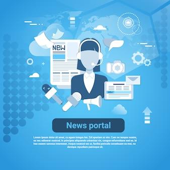 Portal de noticias web banner con espacio de copia sobre fondo azul