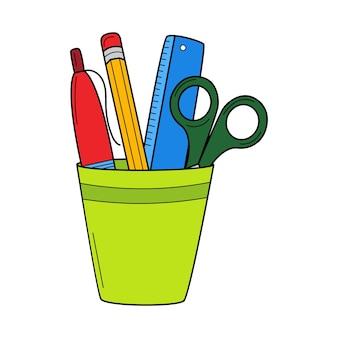Portalápices con regla, tijeras, bolígrafo, lápiz. garabatear. ilustración de vector colorido dibujado a mano.