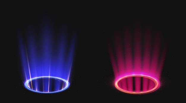 Portales mágicos con efecto de luz azul y rosa.