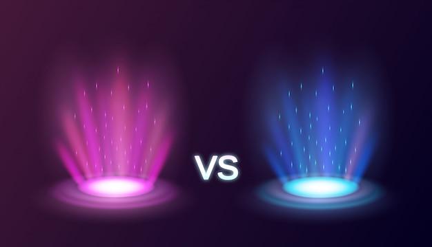 Portales mágicos radiantes realistas rosa vs azul con efectos de luz sobre fondo negro ilustración