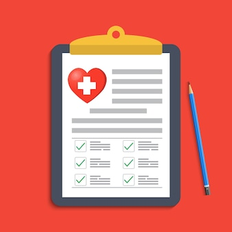 Portapapeles con cruz médica y pluma. registro clínico, reclamo, informe de marcas médicas.