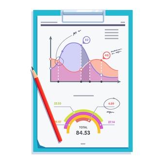 Portapapeles con estadísticas de papel de documento de informe