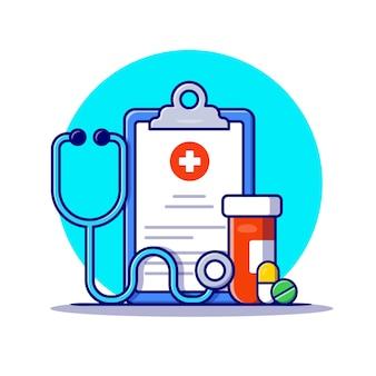 Portapapeles, estetoscopio, tarro y píldoras icono de dibujos animados ilustración. concepto de icono de medicina sanitaria