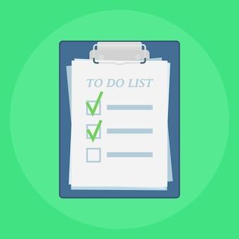 Portapapeles con ilustración de lista de tareas pendientes