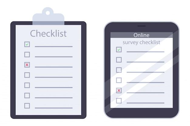 Portapapeles y lista de verificación de encuestas en línea con marca de verificación verde vector plano