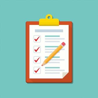 Portapapeles con lista de verificación y el icono de lápiz