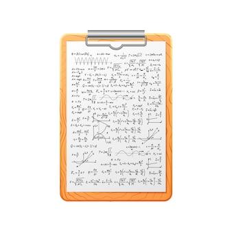 Portapapeles de madera realista con muchos cálculos matemáticos complicados y fórmulas en blanco