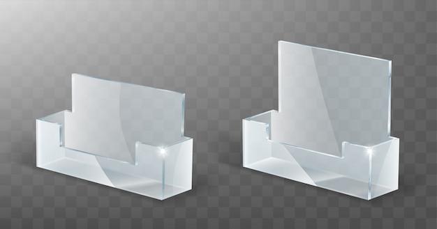 Portatarjetas de acrílico, soporte de exhibición de vidrio plástico