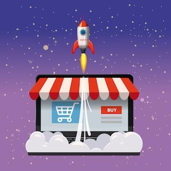 Portátil abierto con pantalla de compra, concepto, lanzamiento de cohetes