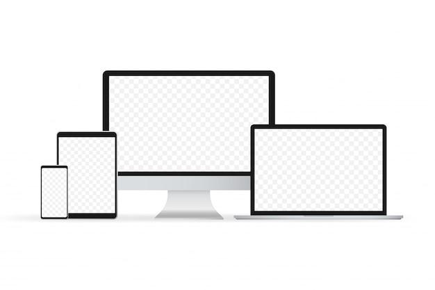 Portátil aislado vector. vector de ilustración de gadget. computadora moderna, laptop, teléfono inteligente
