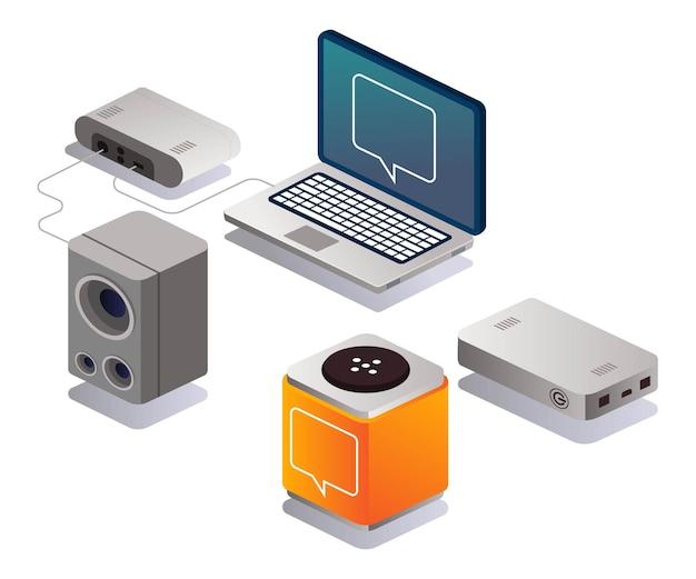Portátil y altavoces activos en diseño isométrico.