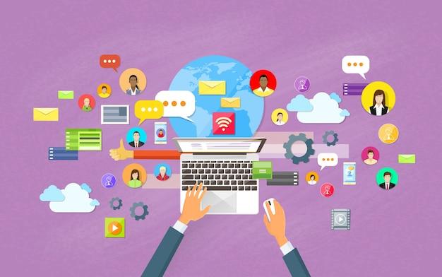 Portátil contenido web site red social comunicación