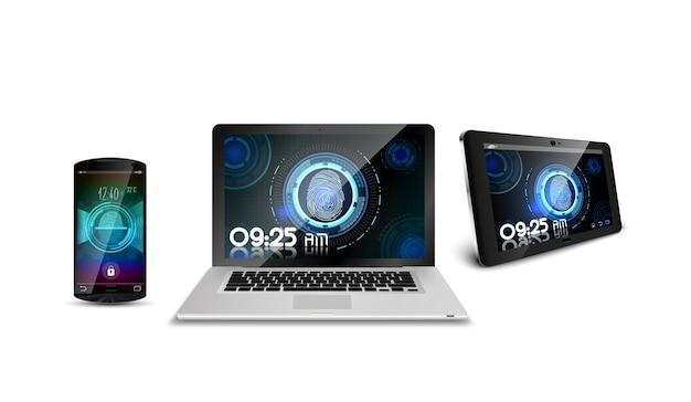 Portátil de teléfono inteligente y tableta de huella digital de concepto