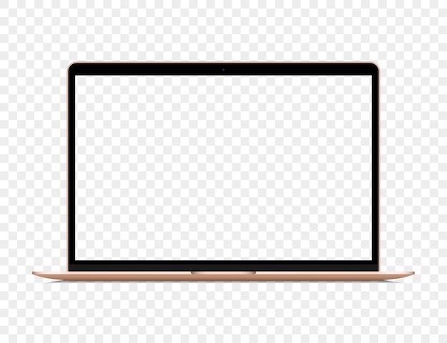 Portátil dorado realista con pantalla en blanco transparente
