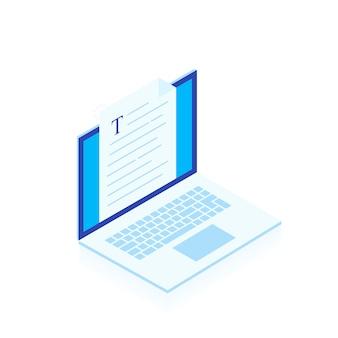 Portátil con escritura carta o revista aislado sobre fondo blanco, periodista autor trabajando. blogging ilustración de estilo isométrico moderno