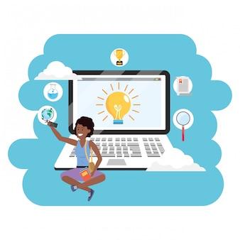 Portátil estudiantil milenario de educación en línea