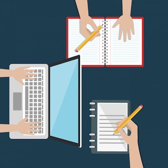 Portátil con iconos de educación fácil e-learning