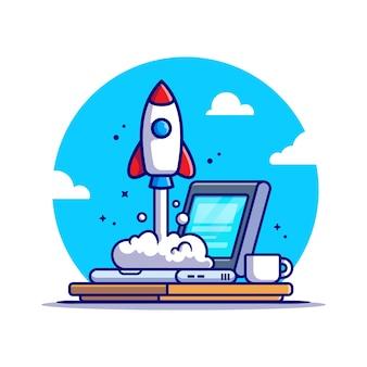 Portátil con ilustración de icono de dibujos animados de lanzamiento de cohete. concepto de icono de tecnología empresarial aislado. estilo de dibujos animados plana