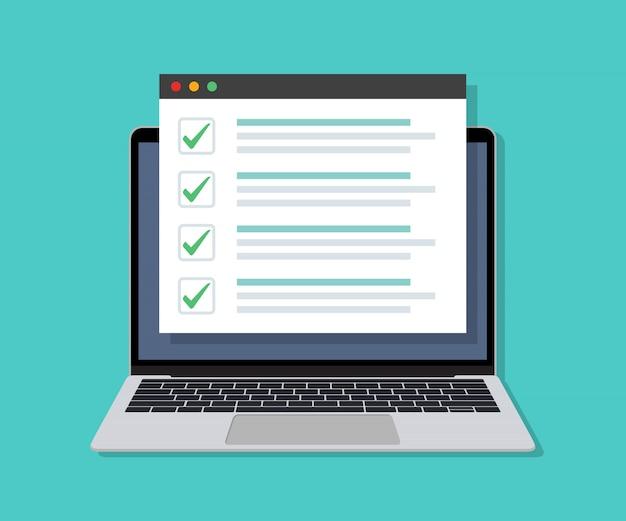 Portátil con lista de verificación en línea en la pantalla en un diseño plano