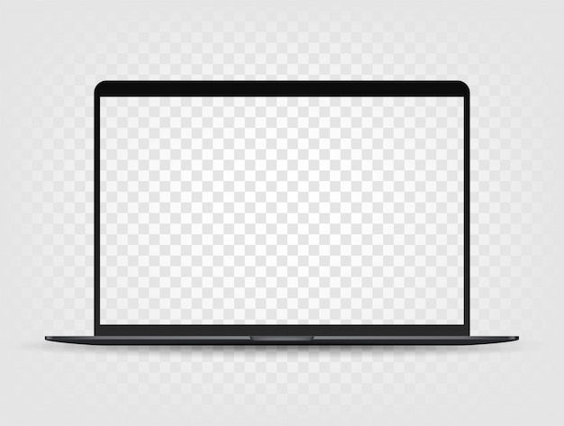 Portátil moderno con maqueta de pantalla transparente
