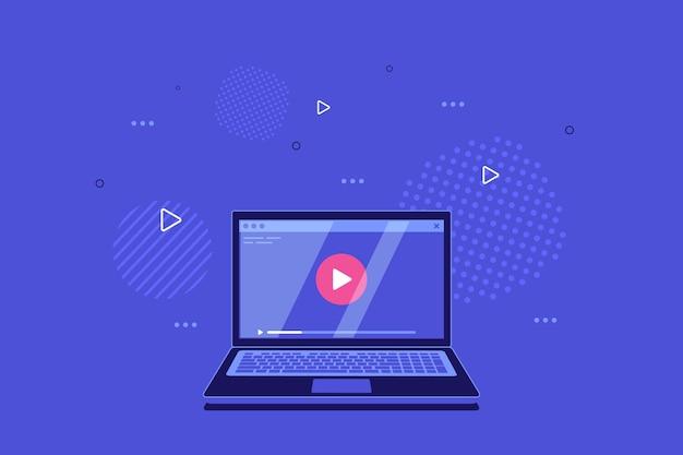Portátil moderno con reproductor de video en pantalla