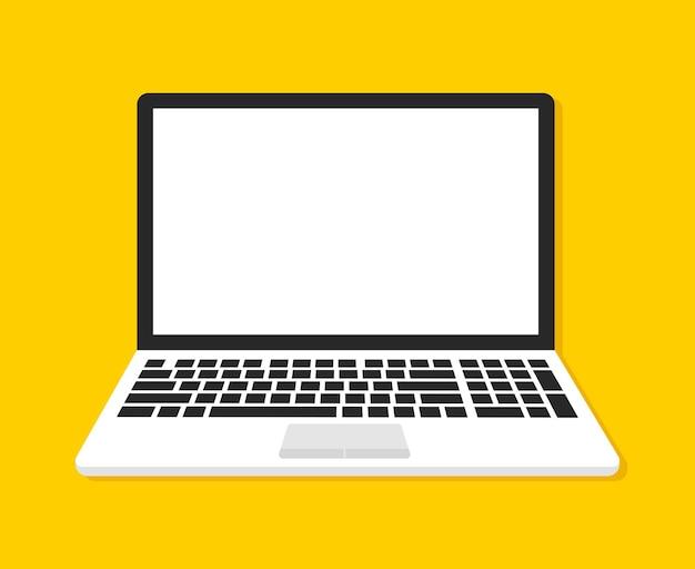 Portátil con pantalla en blanco en amarillo