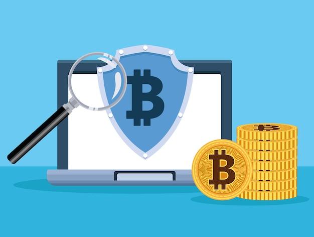 Portátil con símbolo de bitcoin en escudo y lupa, diseño de ilustraciones vectoriales