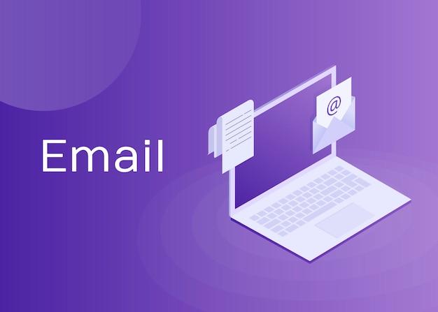 Portátil con sobre y documento en pantalla. correo electrónico, marketing por correo electrónico, publicidad en internet. ilustración isométrica