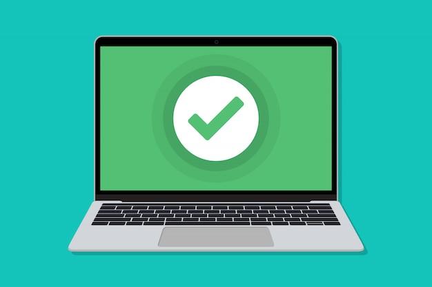 Portátil con ventana de marca de verificación en un diseño plano. de cheque para laptop en un diseño plano