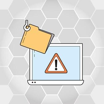 Portátil y carpeta de seguridad cibernética