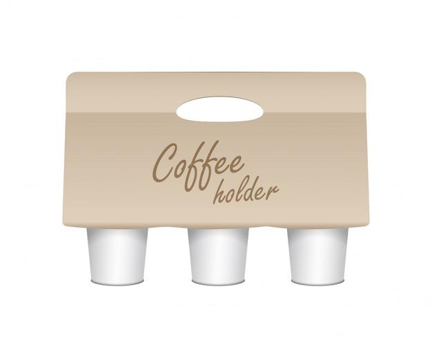 Portavasos de taza de café. portapaquete de papel. portavasos de cartón para llevar