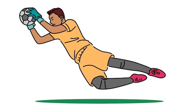 Portero de fútbol saltando atrapa la pelota