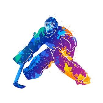 Portero de hockey abstracto de salpicaduras de acuarelas. ilustración de pinturas.