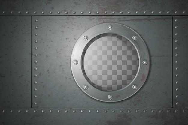 Portillo lateral de metal submarino para la ilustración de vector de dibujos animados de viajes bajo el agua
