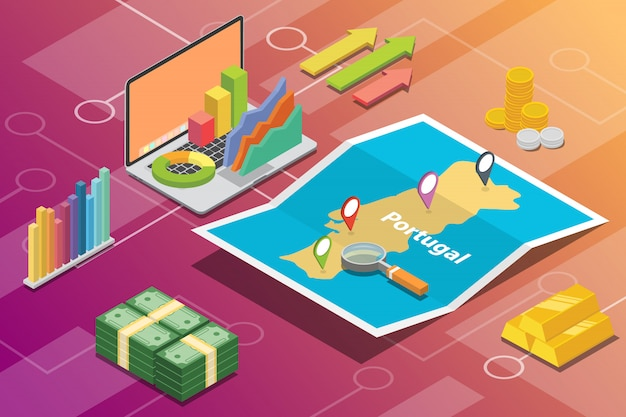 Portugal isométrico negocio economía crecimiento país