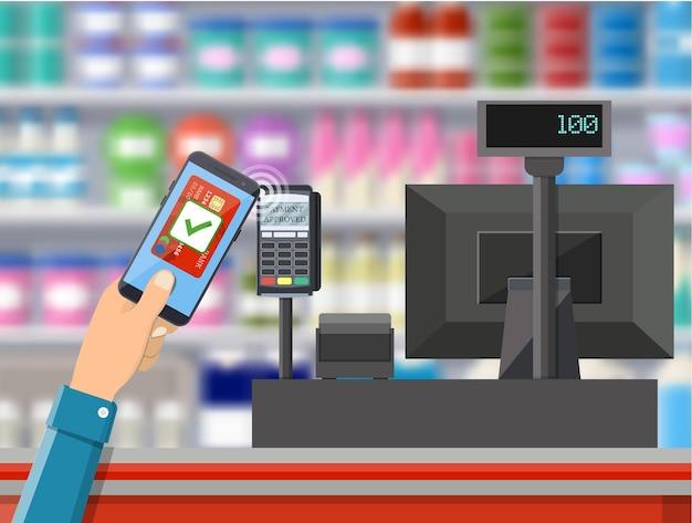 Pos terminal confirma el pago con tarjeta bancaria.