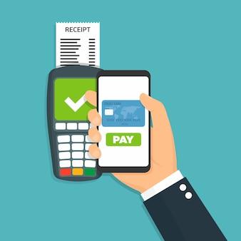 Pos terminal confirma el pago por teléfono inteligente ilustración vectorial.