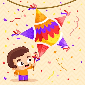 Posada plana niño rompiendo piñata
