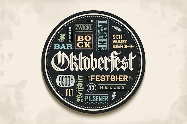 Posavasos para cerveza con letras dibujadas a mano para el festival de la cerveza oktoberfest. dibujo vintage para bar, pub, temas de cerveza. círculo para colocar una jarra de cerveza o una botella de cerveza. ilustración