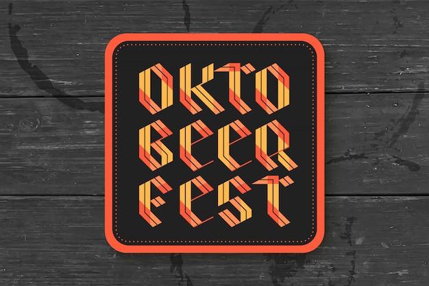 Posavasos para cerveza con letras dibujadas a mano para el festival de la cerveza oktoberfest. dibujo vintage para bar, pub, temas de cerveza. para colocar jarra o botella de cerveza. ilustración