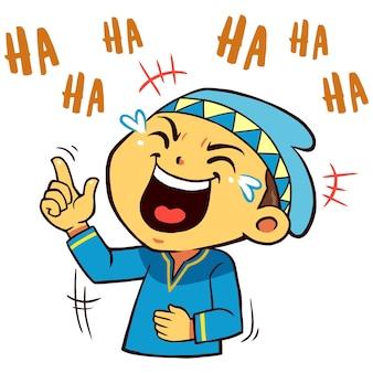 Pose de carácter musulmán boy riendo tan duro.