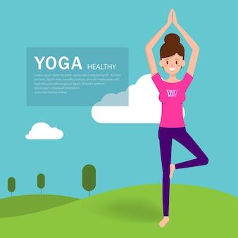 Pose de carácter de yoga de la mujer.